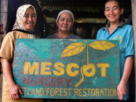 MESCOT Team members (Fatimah, Mck, Ketijah) during efforts at the MESCOT Tree Nursery